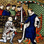 Bertrand du Guesclin being knighted
