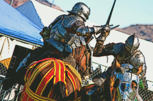 Two Knights clash in joust