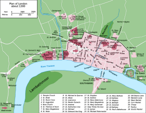 Map of 13th Century Medieval London City